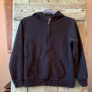Boys gray Ralph Lauren zip up hoodie. Size large